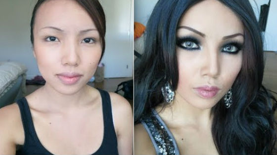 Asian girl before and after makeup